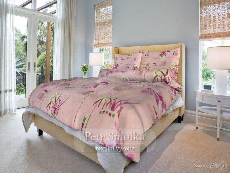 Bavlnené obliečky ružovej farby s kvetmi smolka