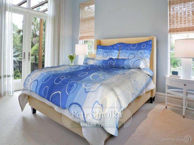 Bavlnené posteľné prádlo modré, český výrobca smolka