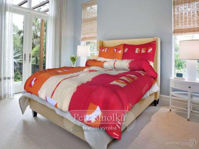 Krepové obliečky červená, oranžová a béžová farba smolka