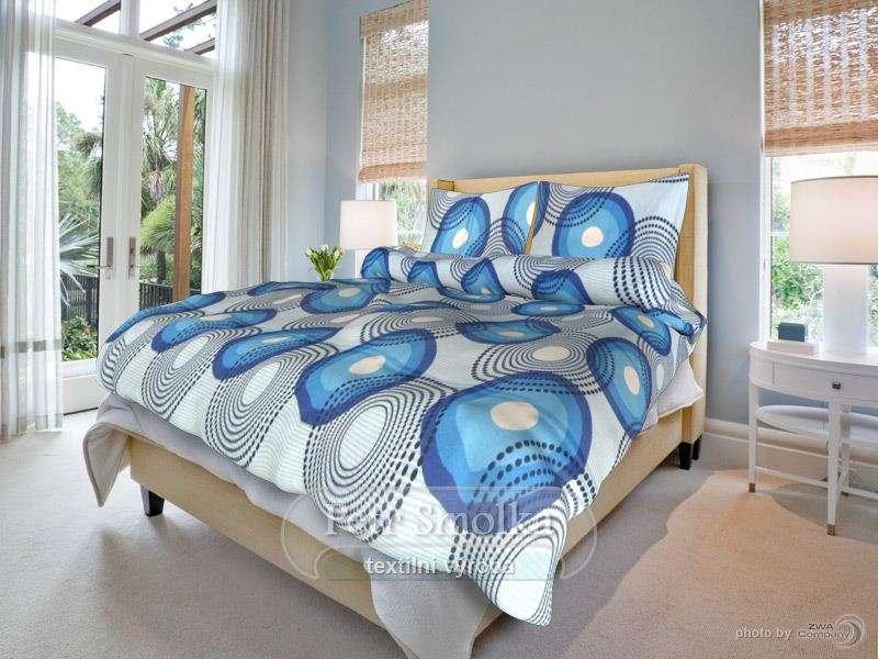 Obojstranné bavlnené svetlo a tmavo modré posteľné prádlo smolka
