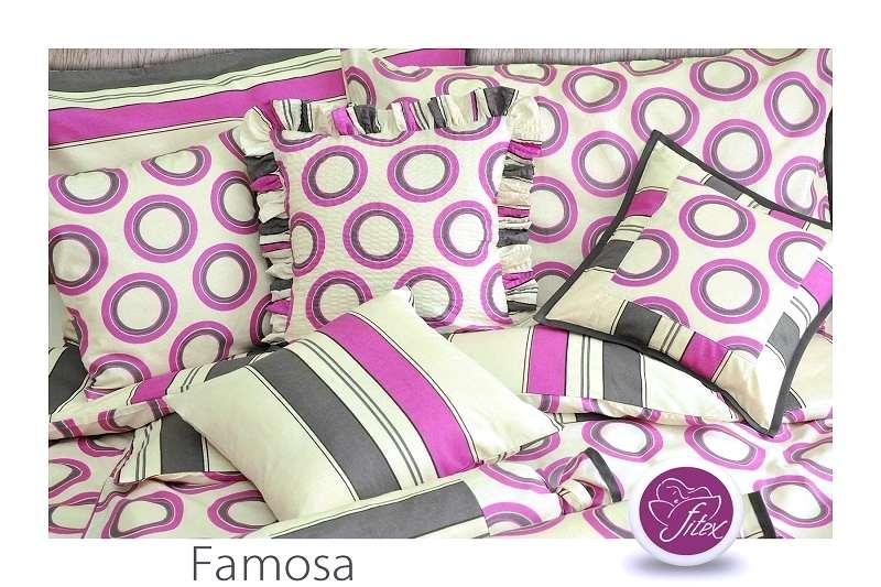 Bavlnené obojstranné farebné posteľné prádlo s pruhmi a kolieskami Fitex
