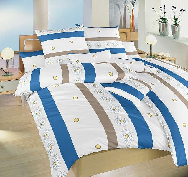 Bavlnené posteľné obliečky s modrými a béžovými prúžkami Dadka