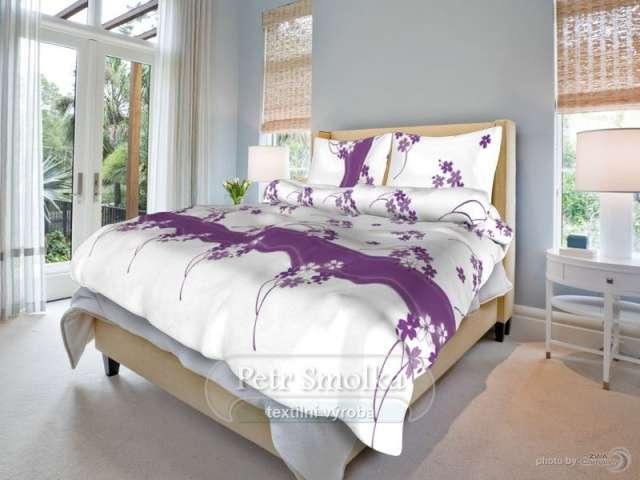 Bavlnené obliečky biele s fialovými kvietkami smolka