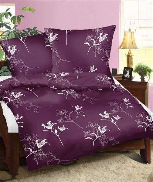 Bavlnené obliečky fialové so vzorom kvetov smolka