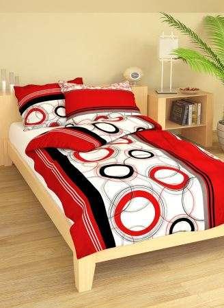 Bavlnené obliečky biele v kombinácii čiernej a červenej farby smolka