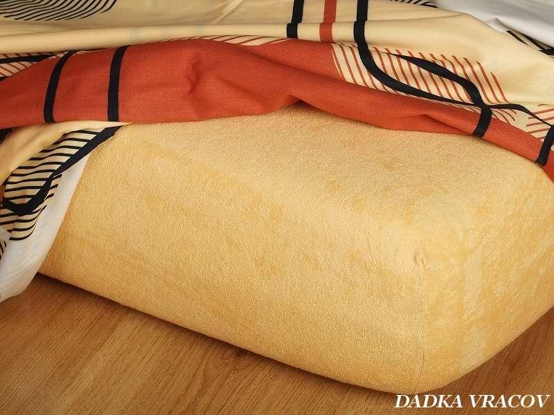 Kvalitná froté plachta okrová luxus Dadka