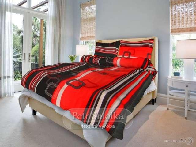 Krepové obliečky čierne a červenej farby smolka