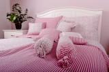 Bavlnené posteľné obliečky vidieckeho štýlu Kvietok ružová