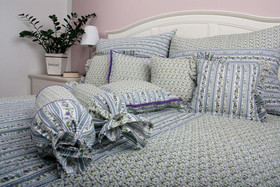 Luxusná bavlnená prešívaná prikrývka Ruža fialová