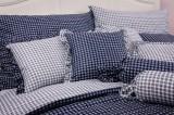 Krepové posteľné obliečky MODRÁ KOCKA pozitív/negatív