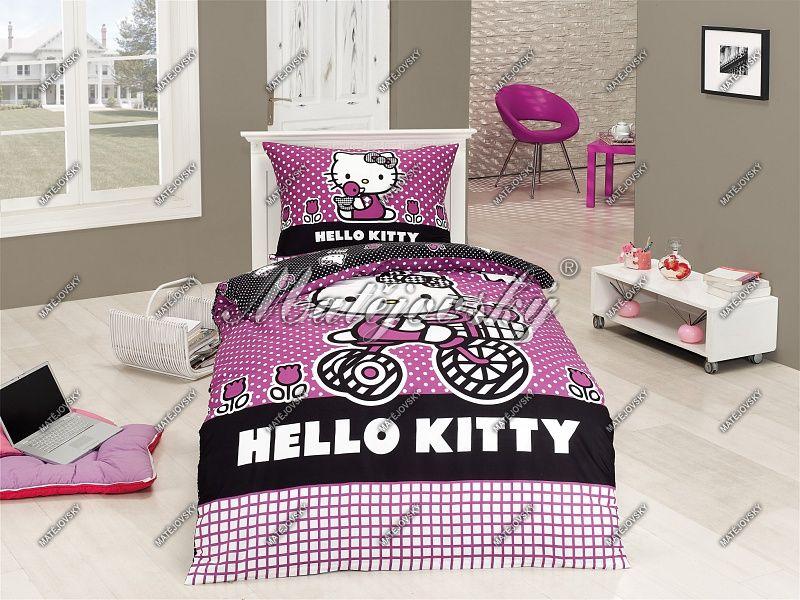 Detské bavlnené obliečky s Hello Kitty na bickyli Matějovský