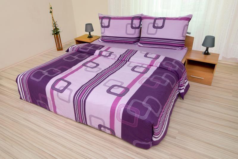Bavlnené obliečky vo fialovej farbe s geometrickým vzorom Kvalitex