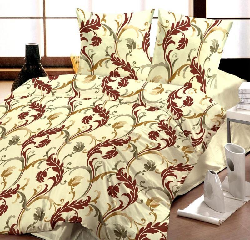 Krepové obliečky béžové so vzorom ornamentov Kvalitex