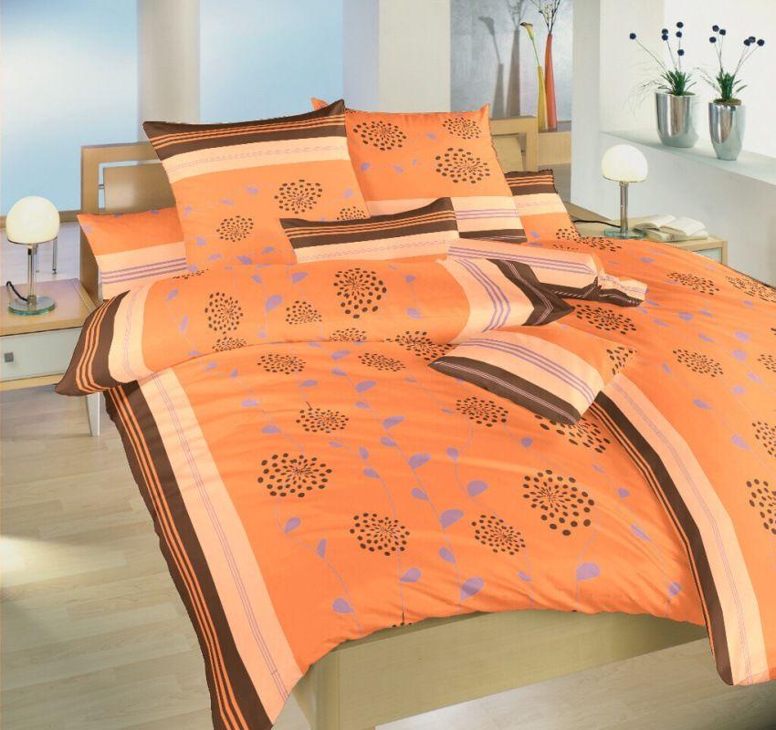 Krepové obliečky karamelové s motívom lianových kvetov Dadka