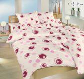 Krepové smotanové obliečky s ružovými bublinami Dadka