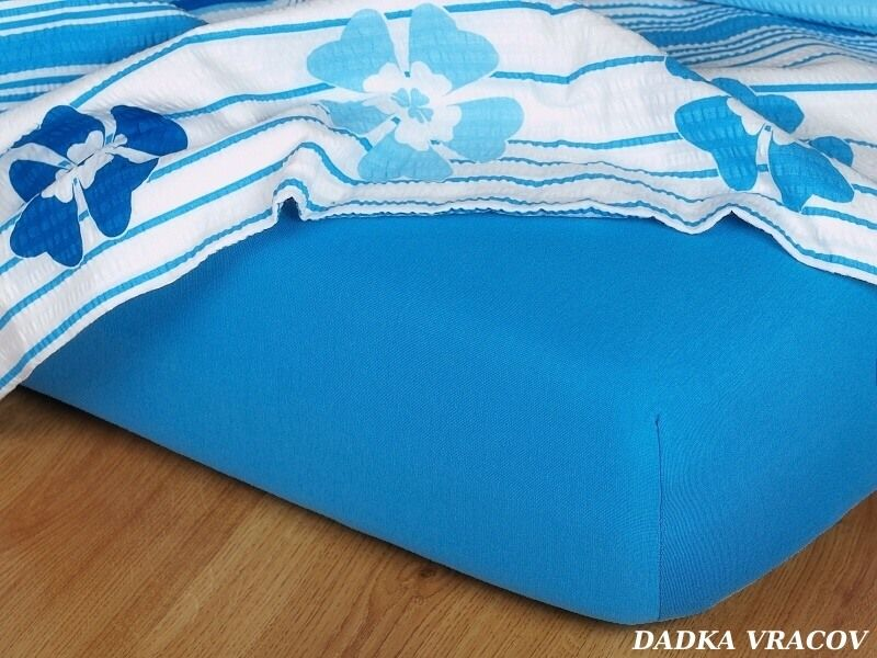 Kvalitná plachta jersey v modrej farbe odtieň denim Dadka