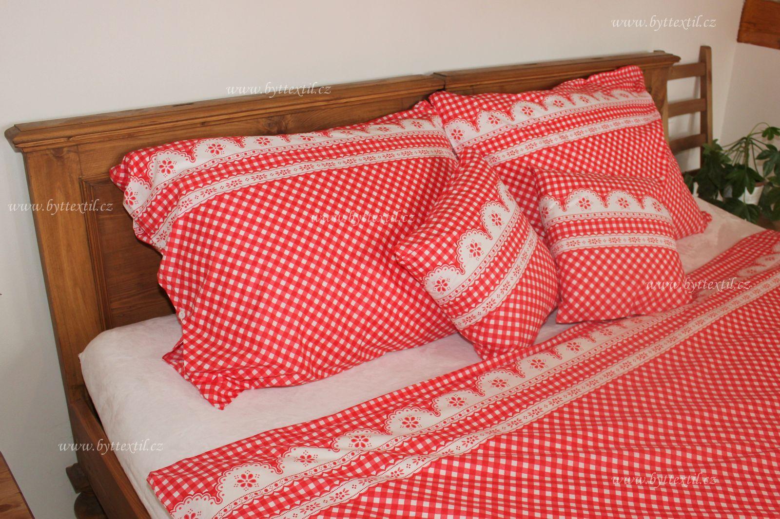 Bavlnené obliečky červené kocka kanafas český výrobce