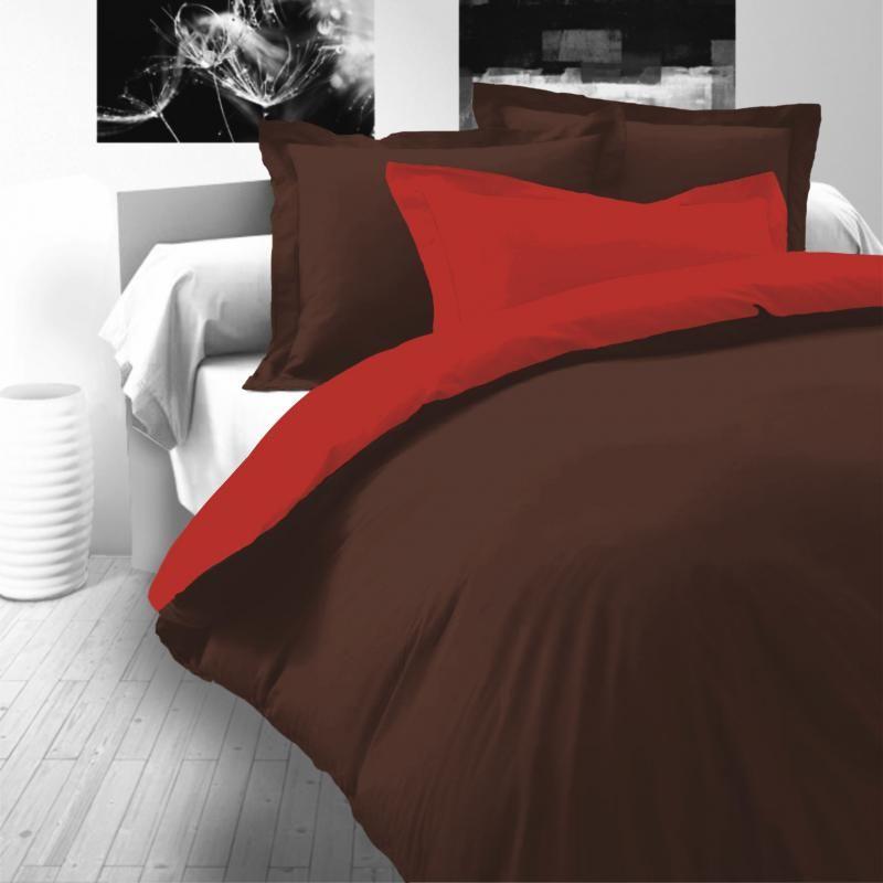 Saténové luxusné obliečky tmavo hnedo-červené Kvalitex