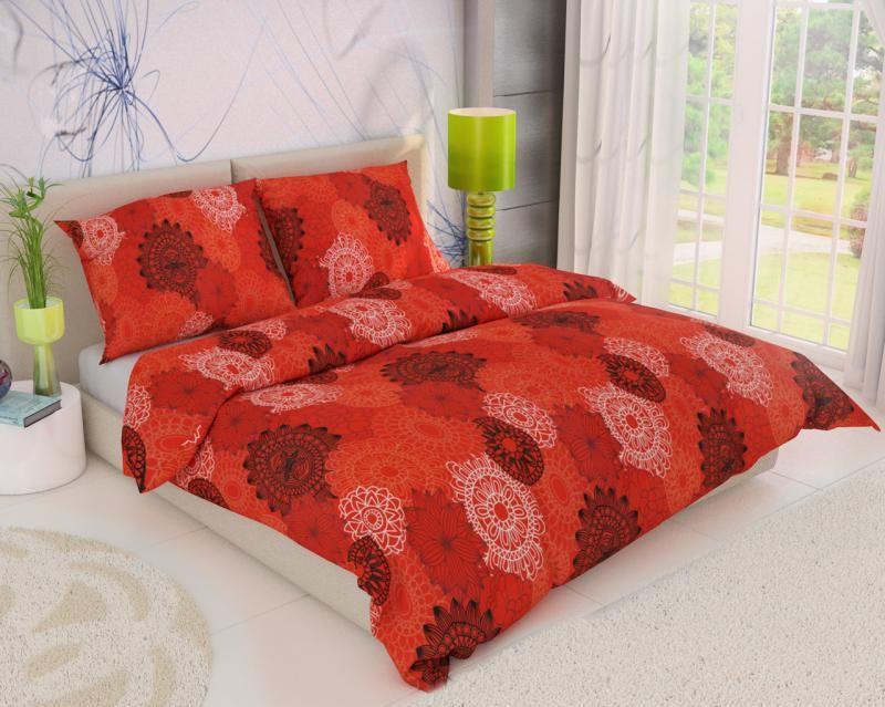 Krepové obliečky s kruhmi pripomínajúcimi kvety na červenom podklade Kvalitex