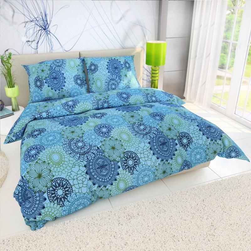 Krepové obliečky s kruhmi pripomínajúcimi kvety na modrom podklade Kvalitex