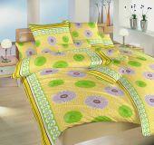 Obliečky v bavlne žlto-zelenej farby Prskavky zelené Dadka