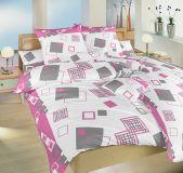 Krepové obliečky ružové a šedé kocky.Svet kociek malinový Dadka