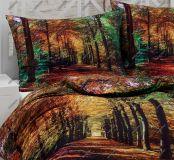 Bavlnené obliečky s motívom lesa v jesenných farbách v digitálnej tlači Matějovský
