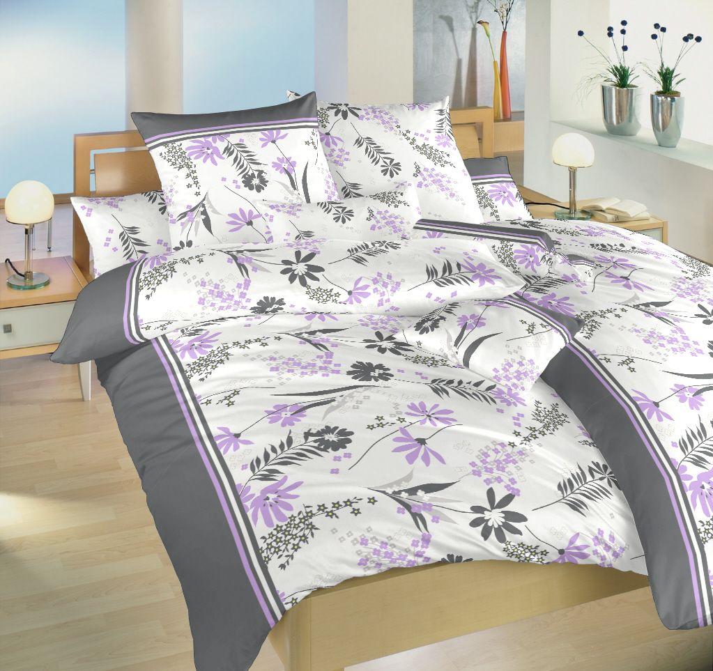 Krepové obliečky s kvetinovým vzorom v kombinácií šedej a fialovej na bielom podklade Dadka