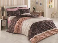Kvalitné bavlnené obliečky s motívom ornamentov v hnedých odtieňoch Kvalitex