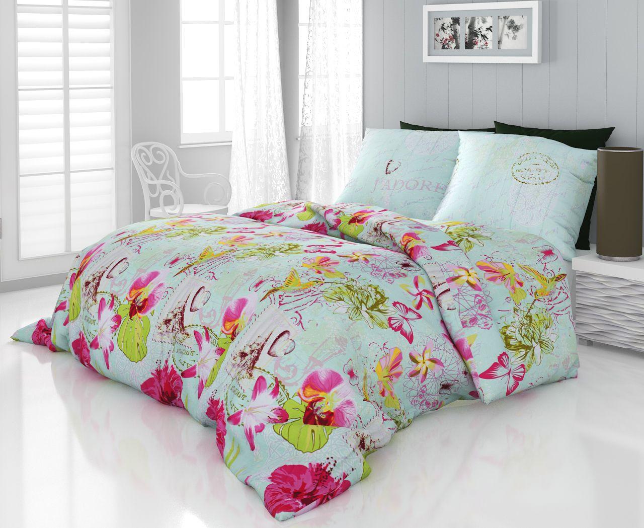 c75f61617 Luxusné saténové obliečky s moderným kvetinovým vzorom Kvalitex