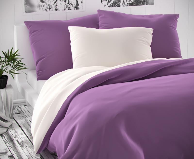 Posteľná bielizeň saténová fialová biela luxusná Kvalitex