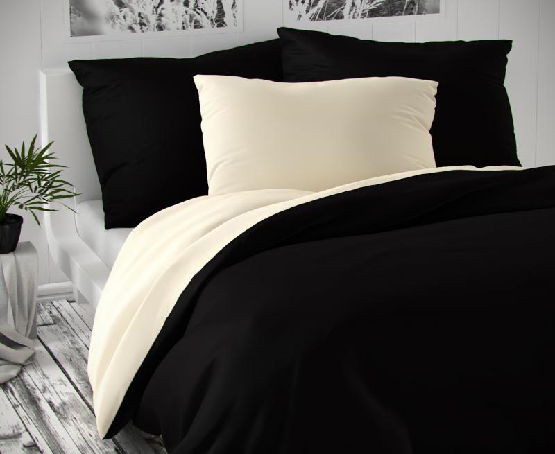 Saténové obliečky čierne smotanové luxusné Kvalitex