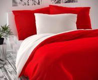 Červeno biele saténové posteľné obliečky