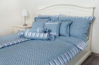 Bavlnené obliečky Bodka modrá s prúžkom