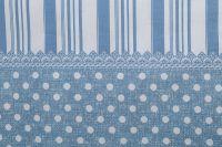 Obliečky vidieckeho štýlu modrej farby s motívom bodiek a po stranách prúžky český výrobce