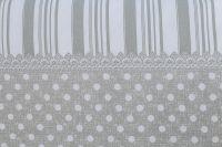 Obliečky vidieckeho štýlu šedej farby s motívom bodiek a po stranách prúžky český výrobce
