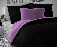 Saténové luxusné posteľné oblečenie čiernofialové Kvalitex