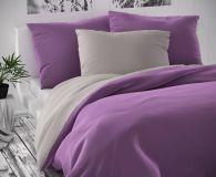 Saténové luxusné obliečky svetlo šedé s fialovou Kvalitex