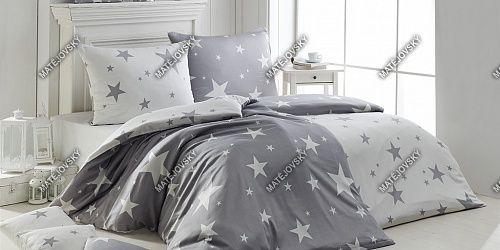 Flanelové obliečky so vzorom hviezd v šedej a bielej farbe Matějovský