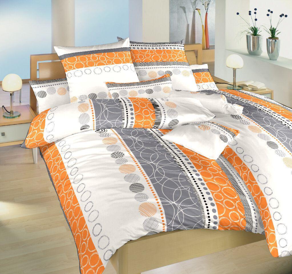 Krásne krepové obliečky oranžovej a šedej farby na bielom podklade Dadka