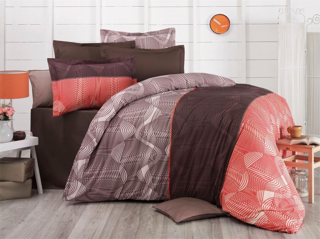 Bavlnené obliečky hnedej a lososovej farby s jemným vzorom Kvalitex