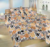 Krepové obliečky so vzorom oranžových koliečok na bielom podklade Dadka