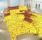 Saténové obliečky s nugátovým vzorom na žltom podklade Dadka