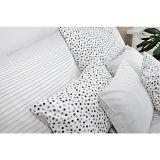 Kvalitné krepové obliečky s pruhmi a bodkami v šedo-bielej kombinácii Fitex