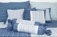 Poťah s volánom VĚTVIČKY modro-bílé český výrobce