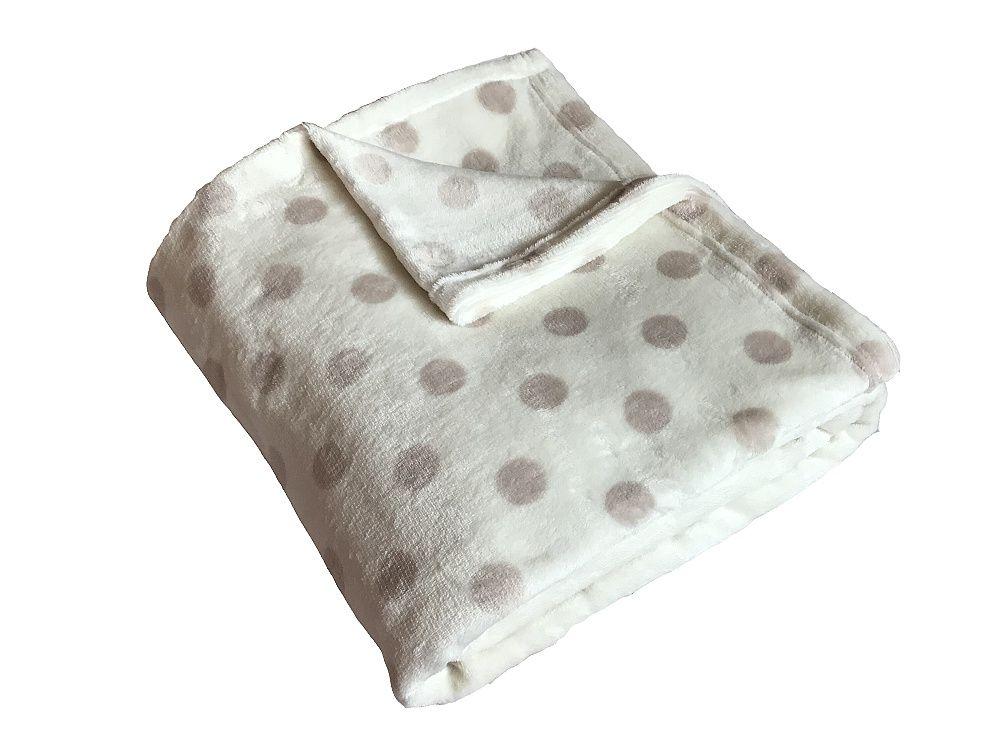 Hebká soft deka banánovej farby s béžovými bodkami Dadka