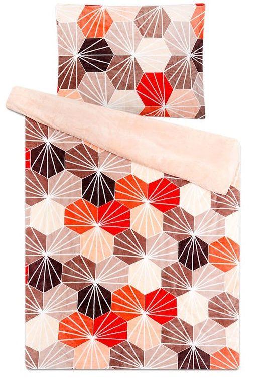 Mikroflanelové obliečky s mozaikovým vzorom červenej a béžovej farby Svitap