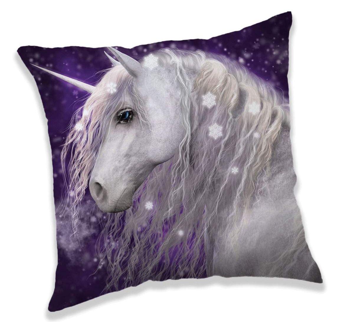 Vankúšik pre dievčatká s motívom Unicorn fialovej farby Jerry Fabrics