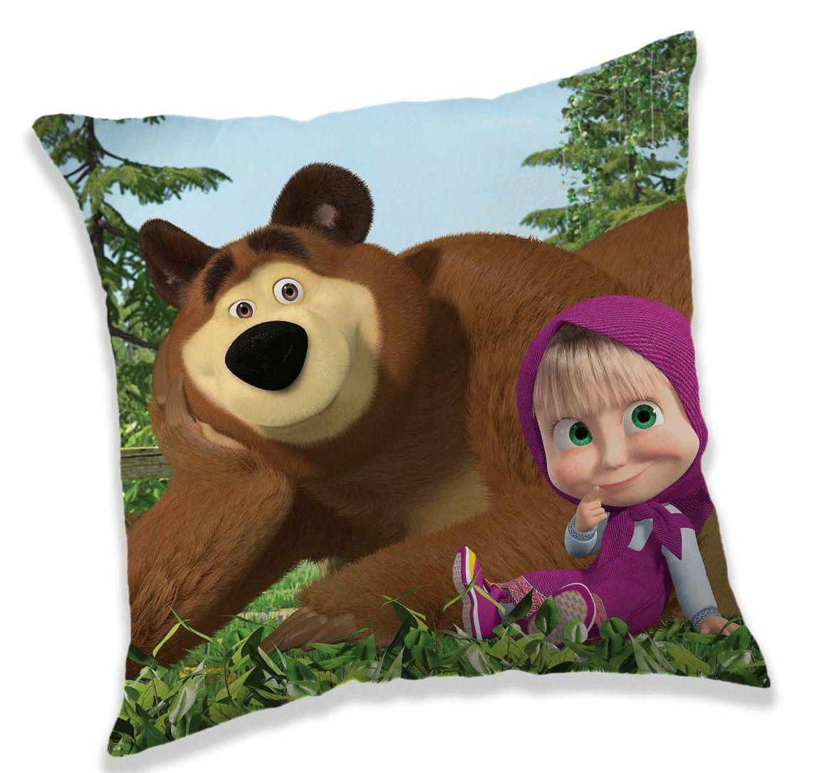 Poťah na vankúš Máša a Medveď na modrom podklade Jerry Fabrics
