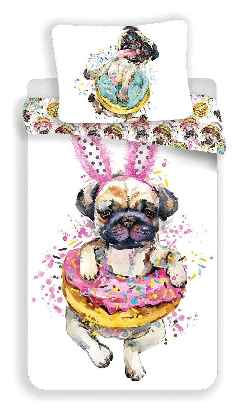 Bavlnené obliečky s motívom psa - Mops Jerry Fabrics